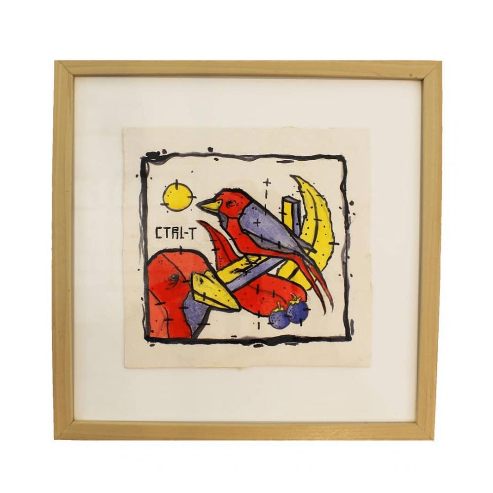 ציור בטשים - Redbirds & sun